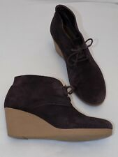 8 M Talbots Brown Suede Leather Ankle Boots Wedge Heel Ladies Womens High BRAZIL