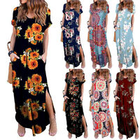 Womens Maxi Boho Floral Summer Beach Long Slit Evening Cocktail Party Sundress