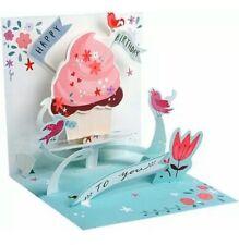 Happy Birthday~3D Pop-Up Glitter Greeting Birthday Card~Yummy Cupcake