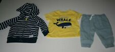 New Carter's 24m Boys 3 Piece Set I Speak Whale Nautical Hoodie Top & Pants