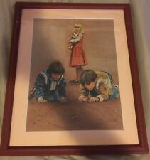 Vintage - Kids Playing Marbles - Don Marco Print - Framed