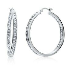 "1.25"" Inside Out Brilliant Round Diamonique CZ Hoop Earrings AntiTarnish Silver"