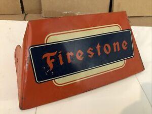 Rare Vintage Original Firestone TIRE Metal Display Stand Sign Gas & Oil