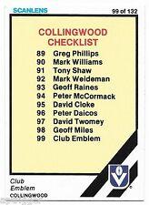 1984 Scanlens (99) COLLINGWOOD Check List Near Mint #