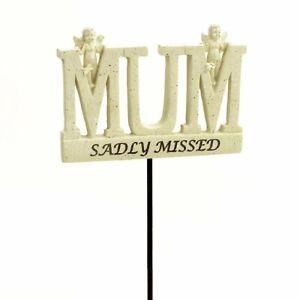 Sadly Missed Mum Angel Memorial Tribute Stick Graveside Plaque