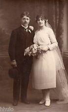 BL971 Carte Photo vintage card RPPC Couple mariage décor studio robe mariée