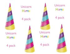 Magical Unicorn Horns Birthday Party Favors, 4pc Rainbow Unicorn Party Hats NEW