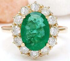 4.40 Carat Natural Emerald 14K Solid Yellow Gold Diamond Ring