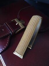 Vintage Italian Gold Plated Steel Tessuflex Watch Strap Band Shark Mesh 18mm