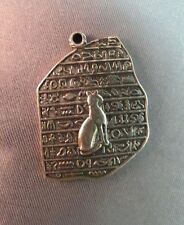 Egyptian Cat Pendant Charm Tablet Hieroglyphics Very Detail Marked Nice Vintage