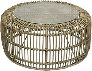 Large Natural Rattan Handmade Unique Round Coffee Side Table 88cm with Glass Top