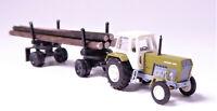 TT BUSCH ZT 300 E grün + Anhänger Langholzanhänger Echtholz  # 18104005 & 8701