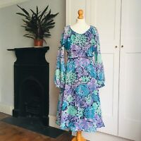 Vintage 70s Blue Purple Green Floral Print Long Balloon Sleeve Dress 10