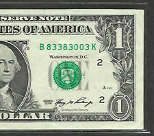 Fancy Serial Number 2006 $1 SUPER REPEATER B 83383003 K TRINARY FOUR THREES