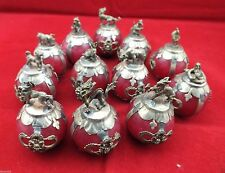 Chinese Tibetan silver Red Jade carving Zodiac statue collection 12pc gd1059