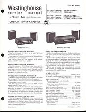 Westinghouse Service Manual for a Rcf9610A Tuner Amplifier - 1971