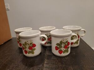 Vintage McCoy Pottery Strawberry Coffee Mugs Tea Cups USA Made Set of 5 USA