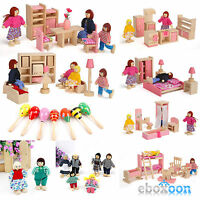 Wooden Furniture Dolls House Family Miniature Kids Children Wood Made Toys Gifts