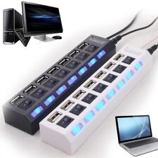 USB 7 in 1 HUB Splitter Connector All in one Hi Speed 2.0 PC & MAC with LED