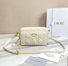 DIOR CARO DOUBLE POUCH White  Supple Cannage Calfskin
