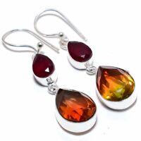 "Bi-Color Tourmaline, Garnet Gemstone 925 Sterling Silver Earring 2.3"" Mq-2739"