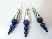 Boucles d'oreilles et pendentif  lapis lazuli monture en argent 925