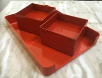 Vintage MCM McDonald Products Orange LETTER TRAY And 4 Trays Catch All