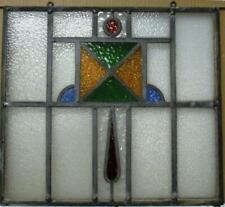 "OLD ENGLISH LEADED STAINED GLASS WINDOW Unframed w Hooks Geometric 17"" x 15.5"""