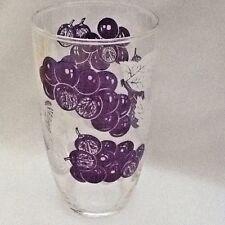 Vintage ~ 16 oz.  Glass Tumbler ~ Crystal with Grape Motif