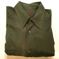 "Nordstrom Button Front Silk Shirt Men's Large (16"" Neck) Olive Green"