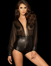 Sexy Faux Leather Sheer V Plunge Top Teddy Playsuit Bodysuit Plus Size 10 - 22