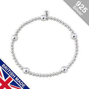 Trink Boho Sterling Silver Beaded Charm Bracelet Large & Small Beads Elastic