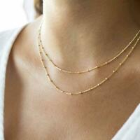14K Solid Yellow Gold Satellite Chain Necklace, Cuban Ball Chain Necklace
