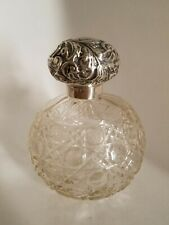 RARE Sterling Silver Cut Glass Cologne Perfume Bottle