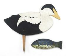 PAINTED WOOD SILHOUETTE DRAKE EIDER DECOY AND A DECORATIVE HANGING F... Lot 938A