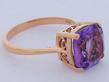 s R224 Genuine 9K Rose Gold Natural Amethyst Cushion Solitaire Ring size 11 V1/2
