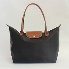 Auth Longchamp Classic Le Pliage Black Nylon Large Tote Leather Strap Handle