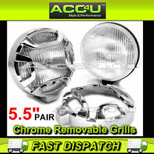 "12v Car Van 4x4 5.5"" inch Chrome Covers Round Halogen Driving Spot Lamps Lights"