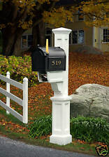 "Mailbox Post ""Dover"" - White- with newspaper holder"