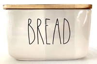 "Rae Dunn  Ceramic ""BREAD BOX"" Cellar w Wooden Lid"