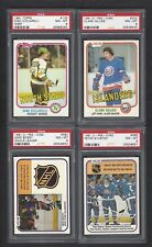 1981 OPC Lot of 4 Cards PSA 8 NM-MT, Bossy, Stastny, Gillies, Ciccarelli 1981-82