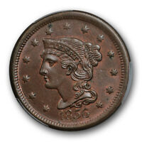 1856 1C Slanted 5 Braided Hair Large Cent PCGS MS 63 BN Uncirculated
