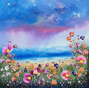 The Storm & Flowers in Love, a large colourful oil painting on canvas Phil Broad