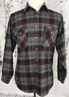 Pendleton Vintage USA 100% Wool Button Plaid Shirt Burgundy Gray Mens Medium M