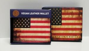 Rustic American Flag Print on Handcrafted Wallet BI-Fold Men's Vegan Leather