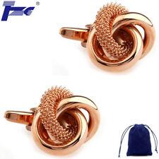 Fashion Cuff Links Men Rose Gold Color Big Metal Knots Cufflinks With Velvet Bag
