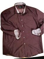 Nicole Miller Dress Shirt Mens 16-16.5 Sz L, Long Sleeve Burgundy, Pink Dots EUC