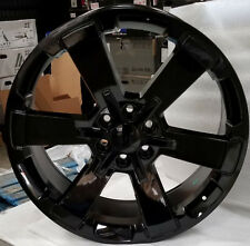22 GMC Replica Wheels Gloss Black Rims Tires Yukon Sierra Chevy Tahoe LTZ