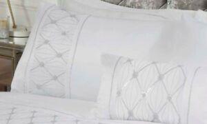 Bedding Heaven® SPARKLE WHITE SEQUIN DIAMOND PATTERN DUVET COVER - MONACO