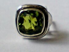 SINGLE STERLING SILVER 10mm STUD EARRING with FACETED PERIDOT STONE £6.50 NWT